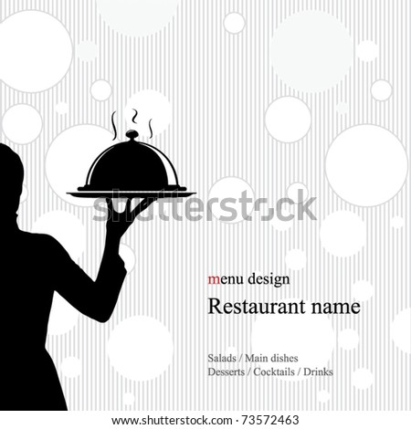 Restaurant menu design. With the silhouette of the girl's waiter - stock vector