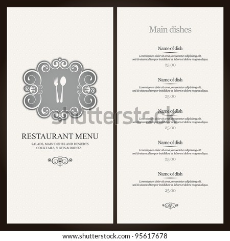 Restaurant Menu Stock Images RoyaltyFree Images  Vectors