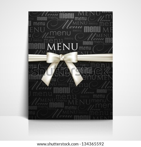 restaurant menu design with white bow and ribbon - stock vector
