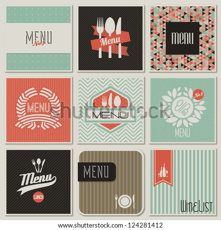 Restaurant menu designs. Retro-styled illustration. - stock vector