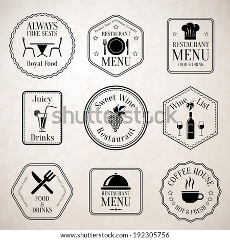 Restaurant menu food and drinks wine list black labels set with serving elements isolated vector illustration