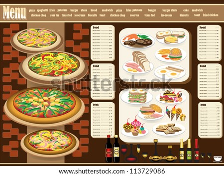 Restaurant Menu. Full design concept - stock vector