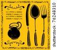 restaurant menu illustrations - stock vector