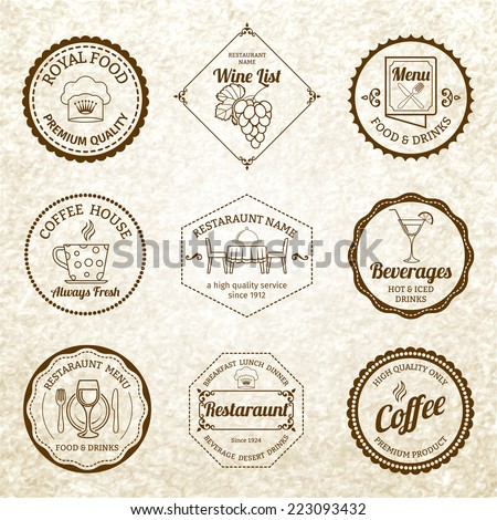 Restaurant menu labels black set with cooking and dinner symbols isolated vector illustration