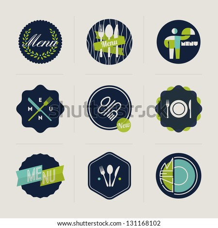 Restaurant menu labels - set of vector design elements - stock vector