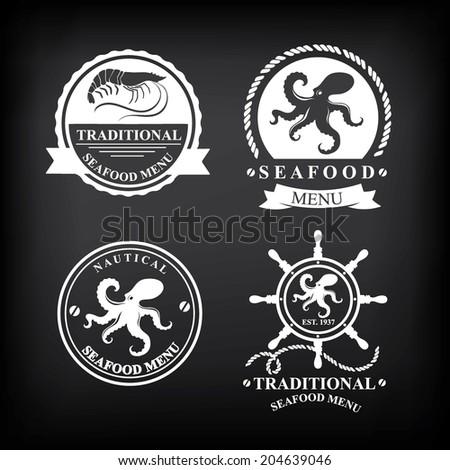 Restaurant menu set of seafood, template design.Vector illustration. - stock vector