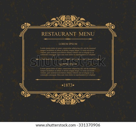 Restaurant Menu Typographic design elements, Calligraphic graceful template, Elegant line art logo, Business sign for Royalty, Menu,  Boutique, Restaurant, Cafe, Hotel, Heraldic, Jewelry, Wine - stock vector