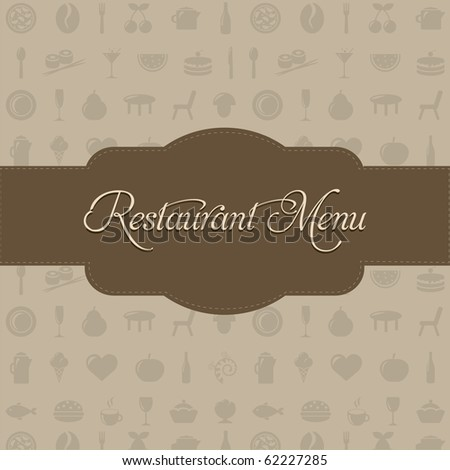 Restaurant Menu With Beige Background And Text, Vector Illustration - stock vector