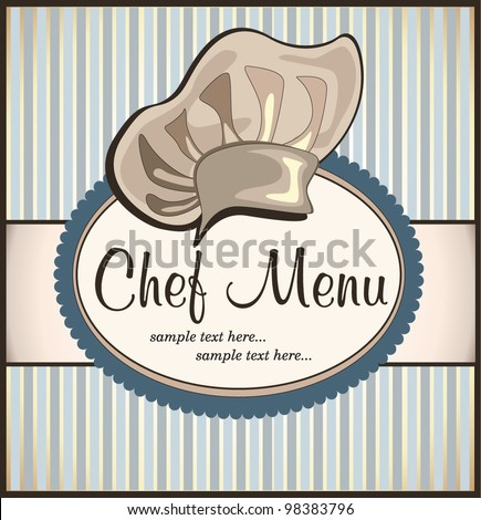 restaurant menu with chef hat - stock vector