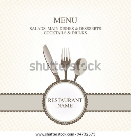 restaurant menu with flatware (knife, spoon, fork) - stock vector