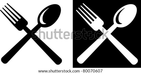 Restaurant or food court  emblem – Spoon and Fork - stock vector