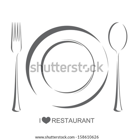 Restaurant 1, plate fork spoon on isolate white background