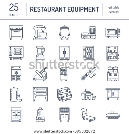 Restaurant Professional Equipment Line Icons Kitchen Stock Vector 593511065 Shutterstock