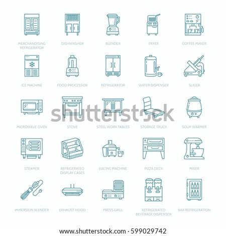 Restaurant Professional Equipment Line Icons. Kitchen Tools, Mixer,  Blender, Fryer, Food Part 54