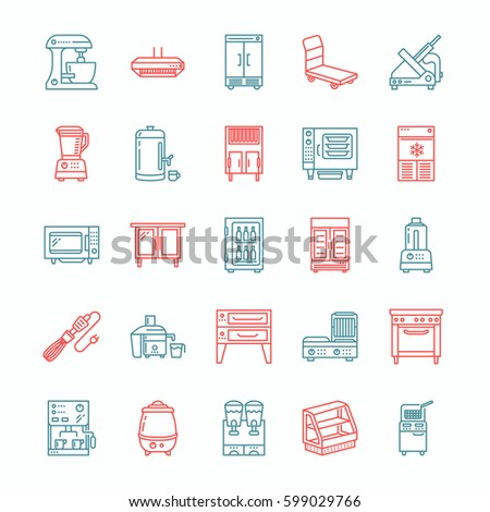 Restaurant Kitchen Toolste restaurant professional equipment line icons kitchen stock vector