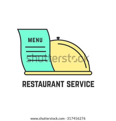 restaurant service with outline dish. concept of flatware, culinary, cooking, haute cuisine, enjoy your meal. isolated on white background. flat style trend modern logotype design vector illustration - stock vector