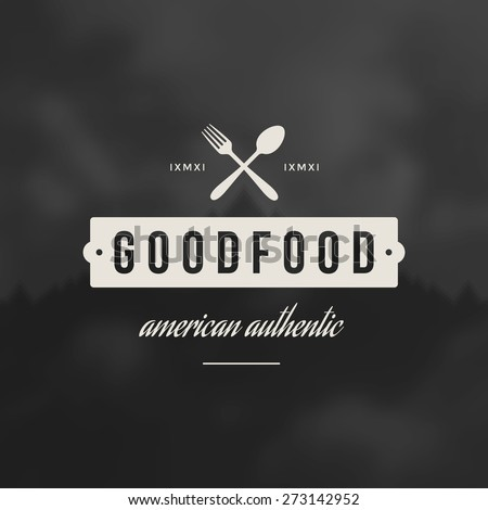 Restaurant Shop Design Element in Vintage Style for Logotype, Label, Badge and other design. Fork and spoon retro vector illustration. - stock vector