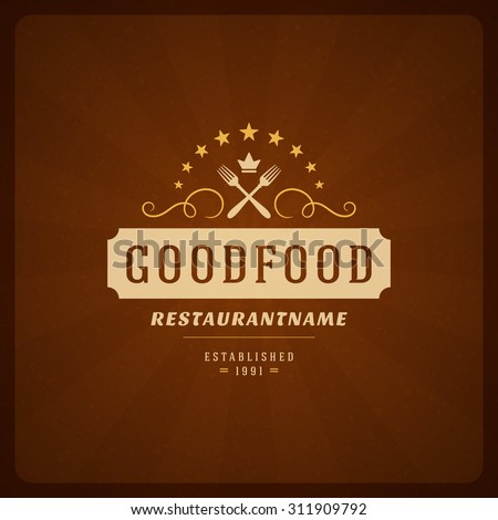 Restaurant Shop Design Element in Vintage Style for Logotype, Label, Badge and other design. Fork retro vector illustration. - stock vector