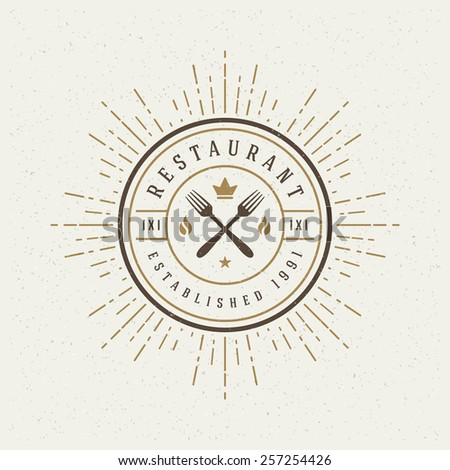 Restaurant Shop Design Element in Vintage Style for Logotype, Label, Badge, T-shirts and other design. Forks retro vector illustration. - stock vector