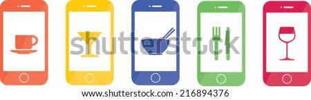 restaurant smart phone mobile app - stock vector