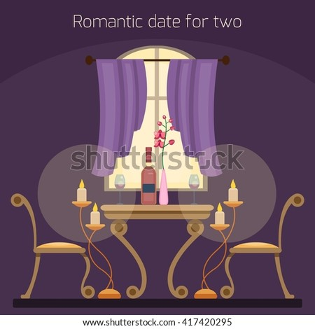 Restaurant Table Two Lovers Romantic Date Stock Vector Royalty Free - Book table for dinner