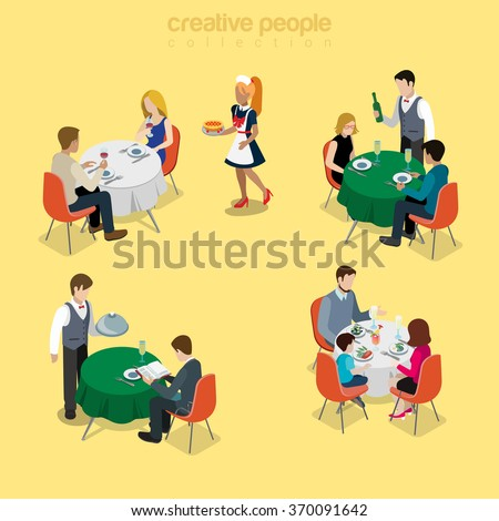 Restaurant table waiter situations flat 3d isometry isometric food meal concept web vector illustration. Couple romantic dinner champagne business lunch family breakfast. Creative people collection. - stock vector