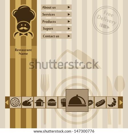 Restaurant Website Template. Flat Design Icons - stock vector