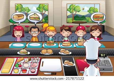 Restaurant with boys girls kids cartoon indoor vector illustration fast food chef - stock vector