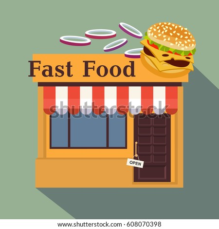 Restaurants shops facade storefront vector detailed stock for Fast food decoration