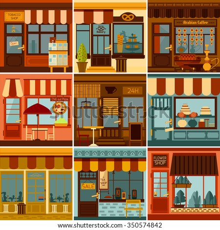 Restaurants shops caffees and market stores facades set isolated vector illustration - stock vector
