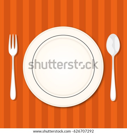Restorant table with fork, knife and plate. Vector illustration. Flat design.