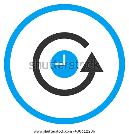 Restore Clock vector bicolor icon. Image style is a flat icon symbol inside a circle, blue and gray colors, white background. - stock vector