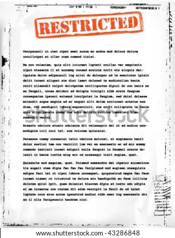restricted document template - stock vector