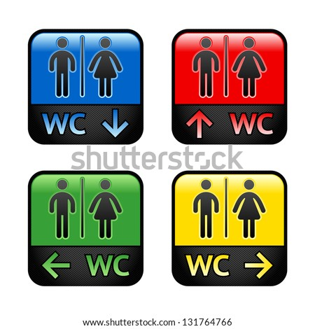 Restroom - colored stickers, vector illustration - stock vector