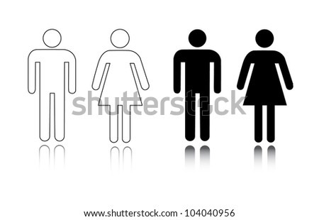 Restroom icon male and female - Vector - stock vector
