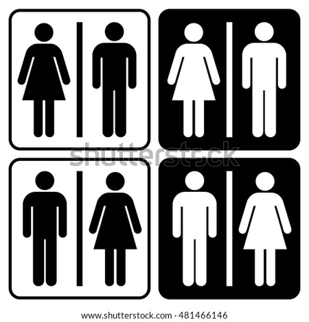 Restroom sign set. A man and a lady toilet sign set, People icons, Black isolated vector illustrations.