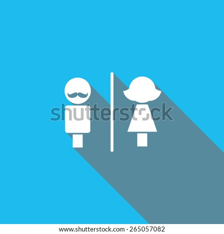 Restroom sign shadow - stock vector