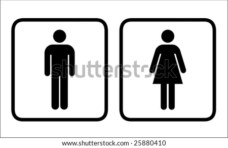 Restroom signs vector for men and women - stock vector