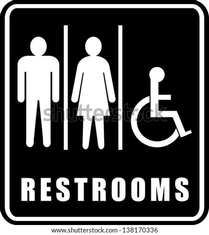 Restroom Symbols Vector Restrooms Sign Stock Vector