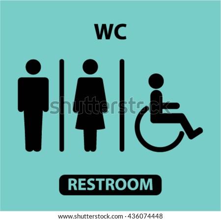 Restrooms Sign Vector Illustration Public Toilet