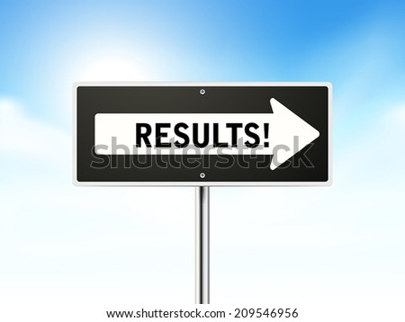 results on black road sign isolated over sky  - stock vector
