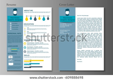 Resume Cover Letter Collection Modern Cv Stock Vector
