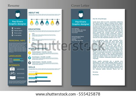 resume and cover letter in flat style design on grey background cv set with infographics - Resume Cover Letter Styles