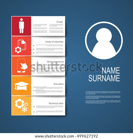 Resume / CV template design with tabs / ribbons/ tags