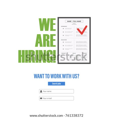 Resume Candidate Position Tagline We Hiring Stock Vector Royalty