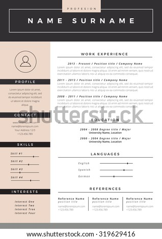 resume stock photos  royalty free images  amp  vectors   shutterstockresume template