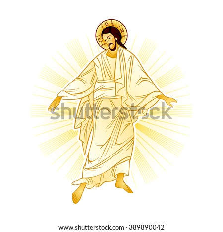 Resurrection of Jesus with a heavenly light - stock vector