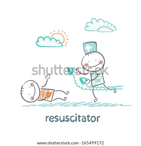 resuscitation in a hurry to sick patient - stock vector