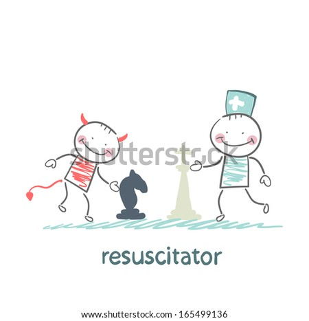 resuscitator carry on a stretcher patientresuscitator plays chess with the devil - stock vector