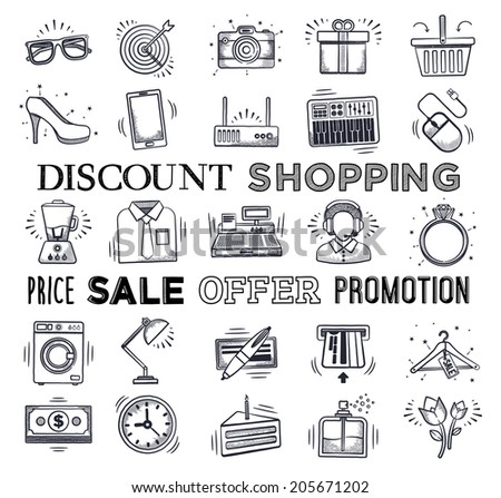Retail and shopping icon set. Vector doodle illustrations. - stock vector